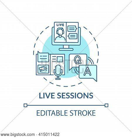 Live Sessions Concept Icon. Virtual Event Content Idea Thin Line Illustration. Creating Positive Att