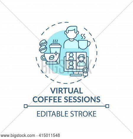 Virtual Coffee Sessions Concept Icon. Virtual Events Success Tip Idea Thin Line Illustration. Boosti