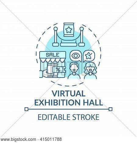Virtual Exhibition Hall Concept Icon. Sponsorship Virtual Events Idea Thin Line Illustration. Online