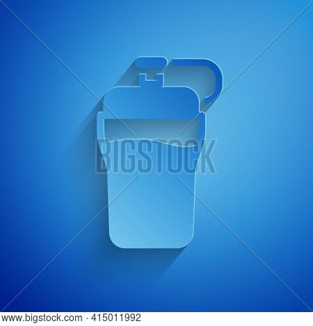 Paper Cut Fitness Shaker Icon Isolated On Blue Background. Sports Shaker Bottle With Lid For Water A