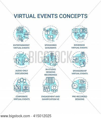 Virtual Events Concept Icons Set. Live Stream Idea Thin Line Rgb Color Illustrations. Sponsored Give