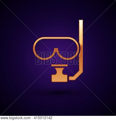 Gold Diving Mask And Snorkel Icon Isolated On Black Background. Extreme Sport. Diving Underwater Equ