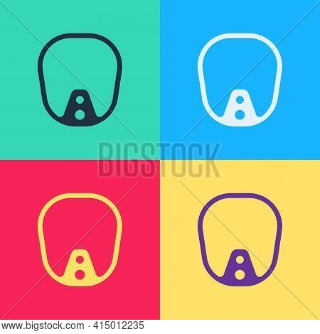Pop Art Diving Mask Icon Isolated On Color Background. Extreme Sport. Diving Underwater Equipment. V