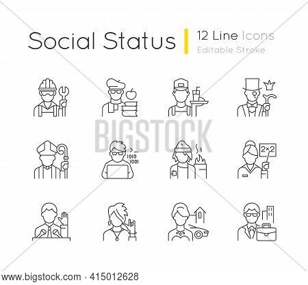 Social Status Linear Icons Set. Lower And Upper Class. Political Elite. Computer Expert. Customizabl