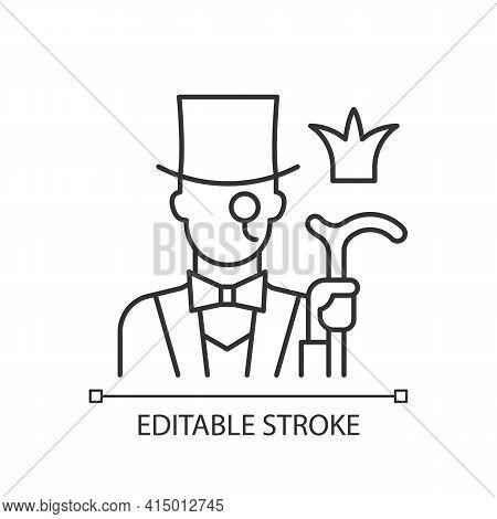 Aristocratic Elite Linear Icon. Posh Gentleman With Monocle. Rich Person. Upper Social Class. Thin L