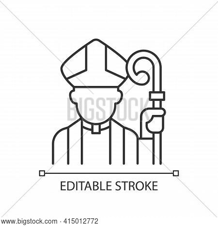 Clergy Linear Icon. Male Catholic Priest. Vatican Pope. Religious Figure. Christian Church Pastor. T