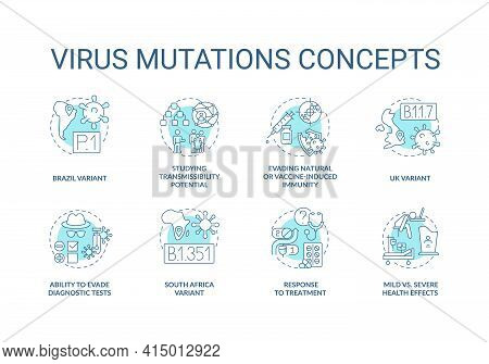 Virus Mutations Concept Icons Set. Dealing With New Types Of Covid Disease. Fighting With World Pand