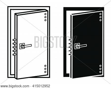 Open Reliable Door Icon Of Bomb Shelter Or Bank. Safe Storage And Shelter. Highest Level Of Security