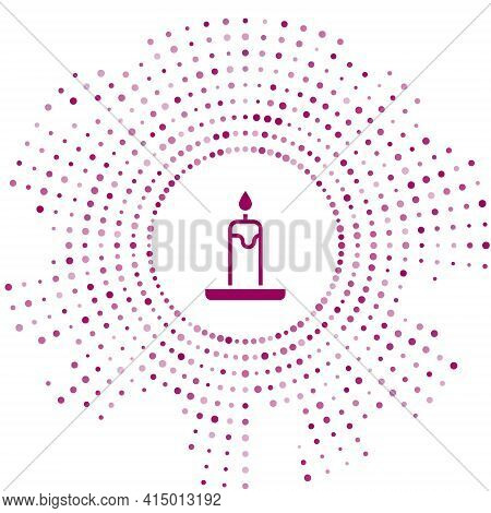Purple Burning Candle In Candlestick Icon Isolated On White Background. Cylindrical Candle Stick Wit