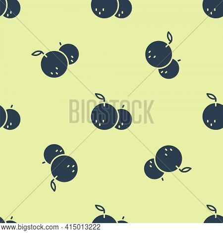 Blue Tangerine Icon Isolated Seamless Pattern On Yellow Background. Merry Christmas And Happy New Ye