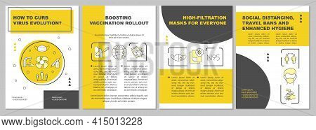 Curbing Virus Evolution Brochure Template. Boosting Vaccination. Flyer, Booklet, Leaflet Print, Cove