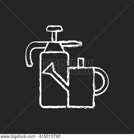 Watering Can And Hand Sprayer Chalk White Icon On Black Background. Healthy Garden Maintenance. Fert