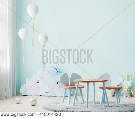 Children Playroom With Blue Wall And Kids Table, Children Room Interior Mock Up With Soft Toys And B
