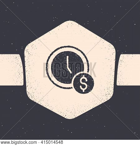 Grunge Time Is Money Icon Isolated On Grey Background. Money Is Time. Effective Time Management. Con