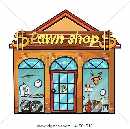 Illustration of a pawnshop on a white background