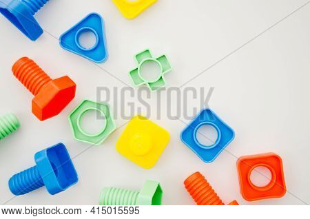 Flat Lay Matching Toys Kids. High Quality And Resolution Beautiful Photo Concept