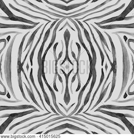 Seamless Zebra Texture. Watercolour African Fur. Gray Zoo Background. Jungle Design. Zebra Pattern.