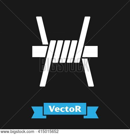 White Barbed Wire Icon Isolated On Black Background. Vector