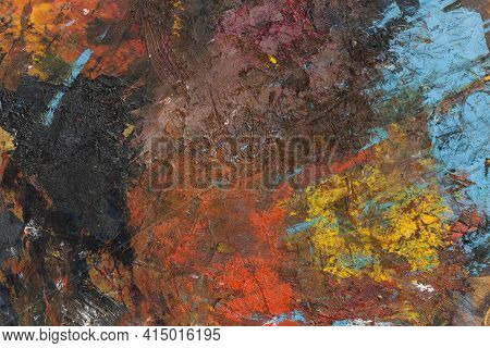 Flat Lay Artistic Copy Space Abstract Painting. High Quality And Resolution Beautiful Photo Concept