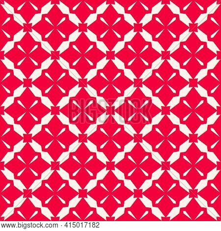 Simple Vector Geometric Seamless Pattern. Abstract Red Texture With Diamond Grid, Floral Shapes, Net