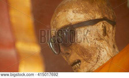 Koh Samui, Thailand - July 13, 2018: Wat Khunaram. Kunaram Buddhist Temple. The Mummified Body Of Bu