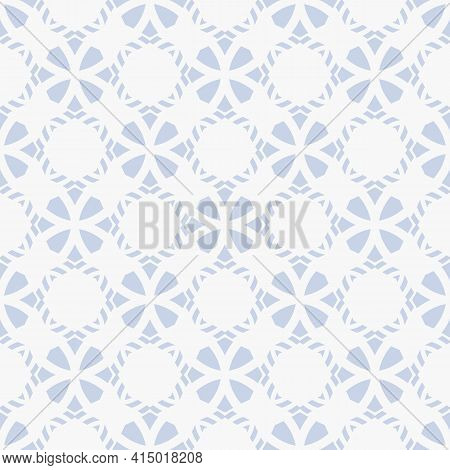 Floral Geometric Ornament. Vector Seamless Pattern With Flower Silhouettes, Diamonds, Grid, Lattice.