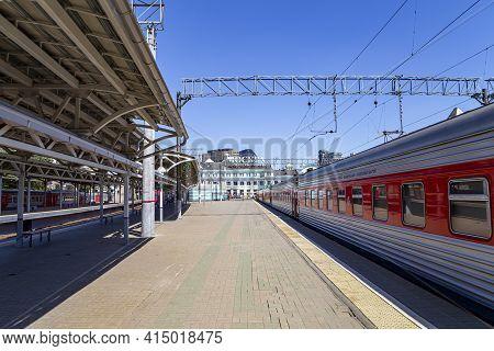 Train On Moscow Passenger Platform (belorussky Railway Station) Is One Of The Nine Main Railway Stat