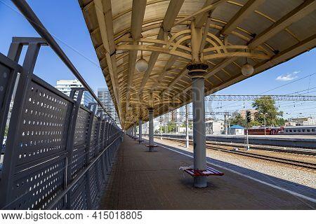On The Train Station Platform-- Kursky Railway Terminal (also Known As Moscow Kurskaya Railway) Is O