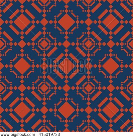 Vector Geometric Seamless Pattern In Ethnic Style. Abstract Texture With Diamonds, Rhombuses, Square