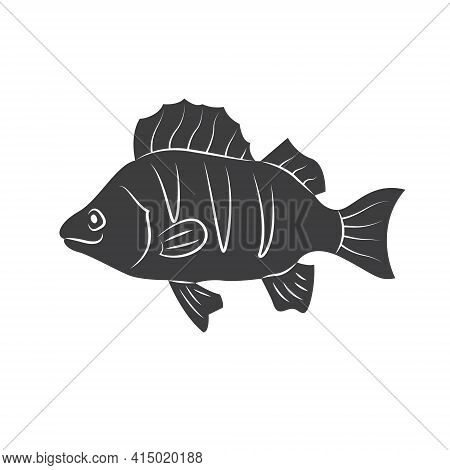 Fish Silhouette In Line Art Style. Fish Vector Illustration On White. Perfectly For Fishing Shops Lo