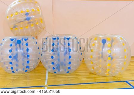Colorful Bumper Boll Bubble Balloons In The Sports Center. Equipment For Team Building Sport Game Na