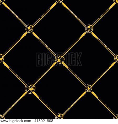Vector Painterly Lattice Braid Weave And Scribbled Circle Joints Pattern. Seamless Interlace Backgro