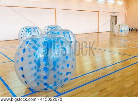 Zorbsoccer. Equipment For Team Building Sport Game Named Bumper Ball Or Bubble Ball. Blue Bumper Bol