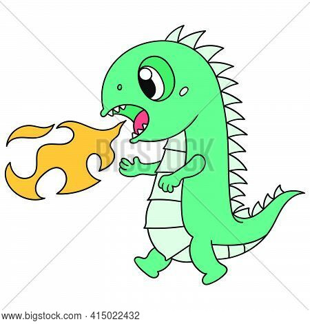 Cute Dinosaurs Are Spitting Out Hot Flames, Character Cute Doodle Draw. Vector Illustration