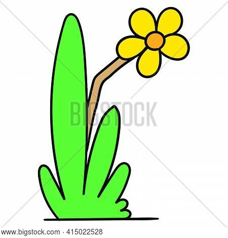 Icon Of Lush Grass With Blooming Sunflowers, Character Cute Doodle Draw. Vector Illustration