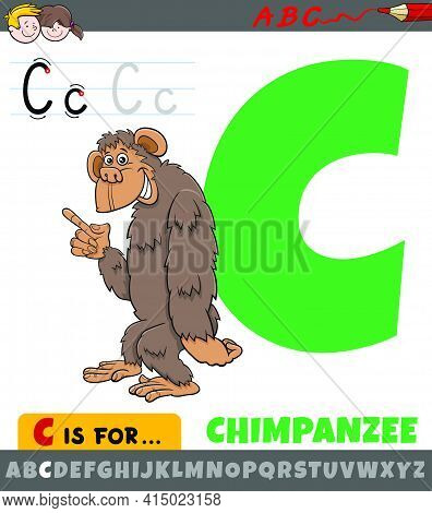 Educational Cartoon Illustration Of Letter C From Alphabet With Chimpanzee Animal Character For Chil