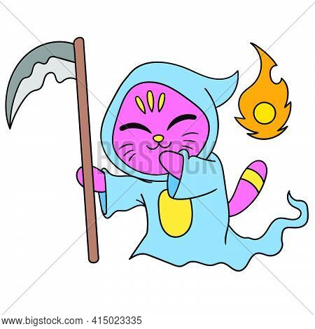 A Shinigami Cat Dressed In An Angel Of Death, Character Cute Doodle Draw. Vector Illustration