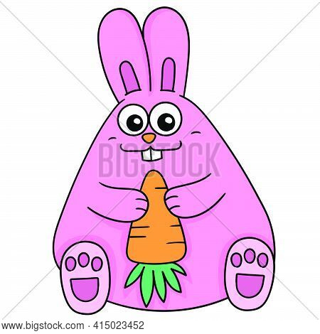 A Cute And Chubby Rabbit Sitting Holding A Carrot, Character Cute Doodle Draw. Vector Illustration