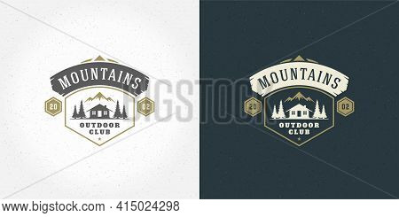 Forest Camping Logo Emblem Vector Summer Camping Illustration Mountains With Cabin And Pine Trees Si