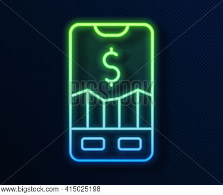 Glowing Neon Line Mobile Stock Trading Concept Icon Isolated On Blue Background. Online Trading, Sto