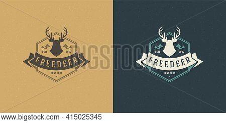 Deer Head With Horns Logo Emblem Vector Illustration Reindeer Silhouette For Shirt Or Print Stamp