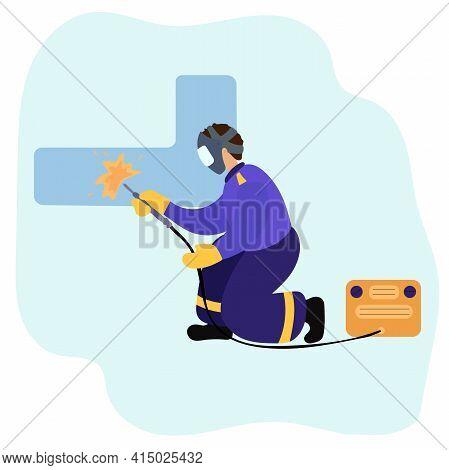 Man Welders. Welder And Welding Service Concept. Vector Illustration.