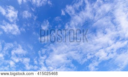 Blue Sky Background. Sky Clouds. Vast Blue Sky Landscape. Sky Panoramic. Colorful Sky. Sky View In B