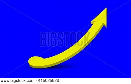Volumetric Spiral Yellow Arrow With Shadow Pointing Upwards On A Pure Blue Background