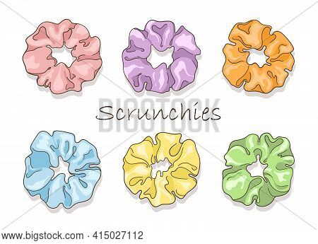 Hair Scrunchies In Cartoon Style. Modern Set Of Headband And Scrunchy For Sport And Fashion.