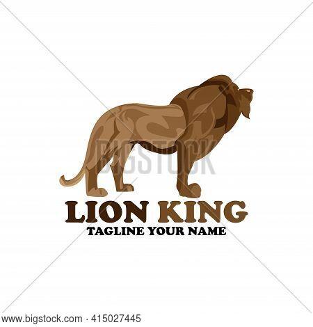 Lion King Design Logo Vector. Lion King Animal Wildlife Vector