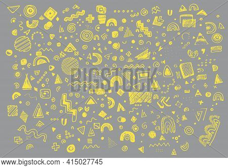 Doodle Geometry Background Trend In Memphis Style On Light Background. Abstract Circle Geometric Sha