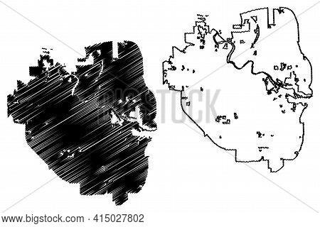 Ann Arbor City, Michigan (united States Cities, United States Of America, Usa City) Map Vector Illus