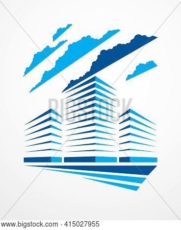 Office Building, Modern Architecture Vector Illustration. Real Estate Realty Business Center Design.