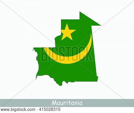 Mauritania Map Flag. Map Of The Islamic Republic Of Mauritania With The Mauritanian National Flag Is